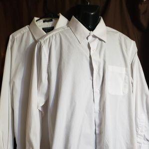2 white collared shirts Alexander julian